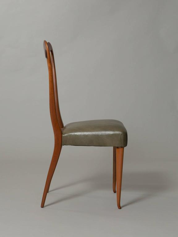 Four Elegant Italian Moderne Dining/Side Chairs In Excellent Condition For Sale In New York, NY