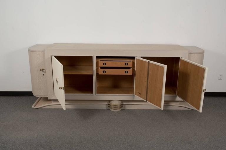 French Cerused Oak Sideboard with Custom Leather Panels 3