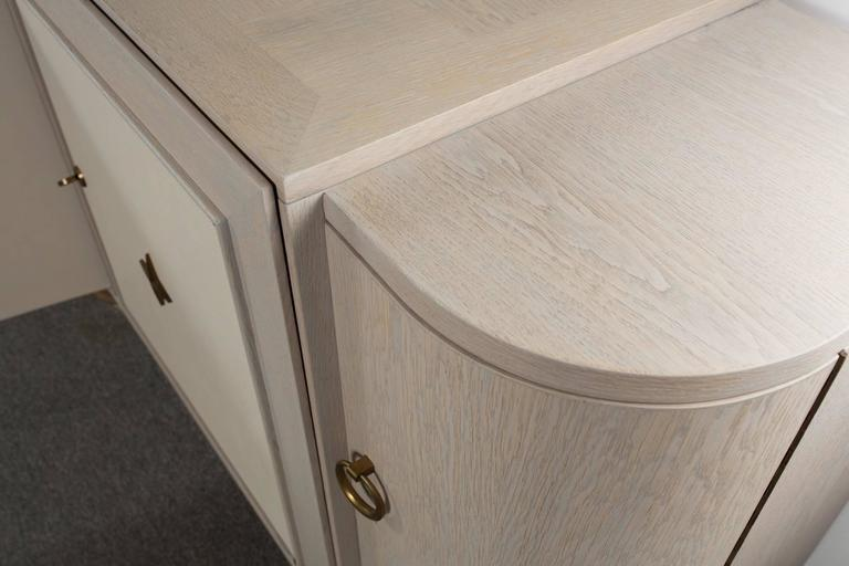 French Cerused Oak Sideboard with Custom Leather Panels 8