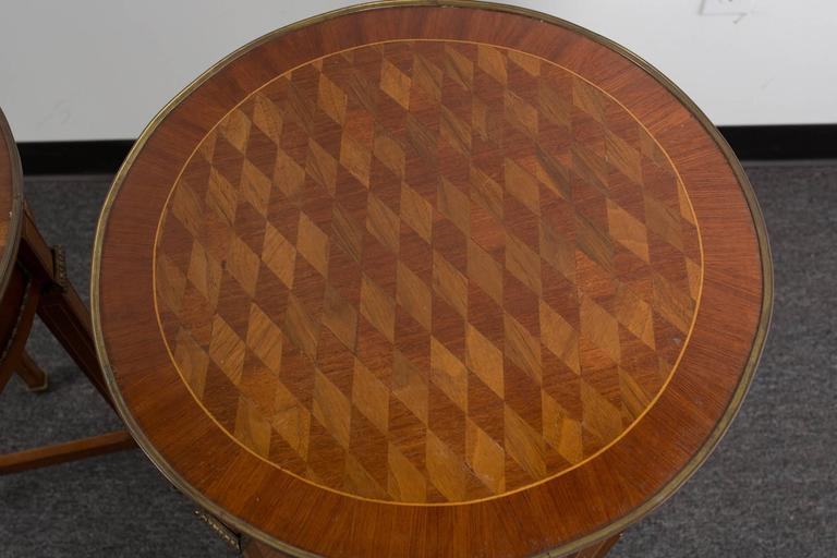 Pair of Round Marquetry Gueridons 7