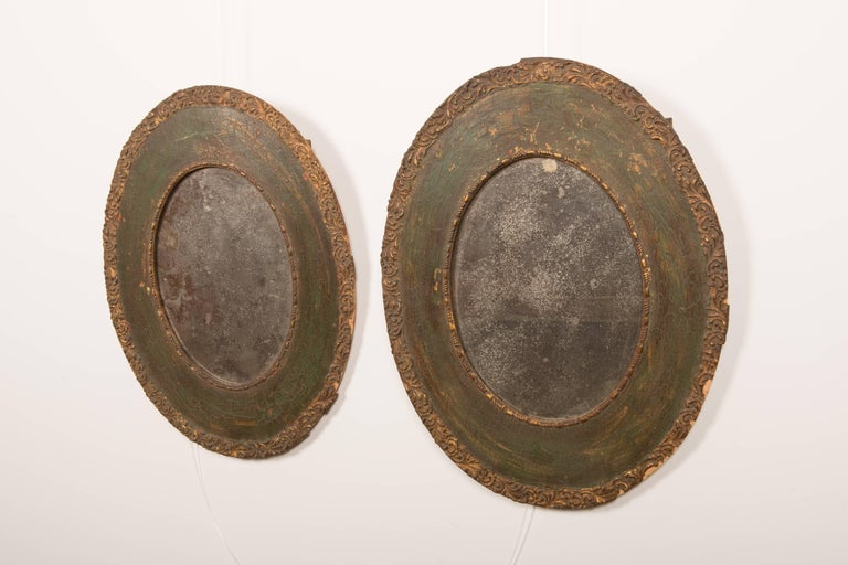 French Pair of 19th-Century Antique Oval Mirrors For Sale