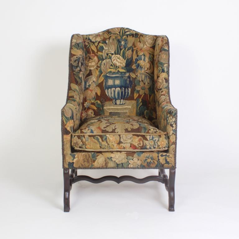 Captivating Fine Pair Of Os De Mouton Wingback Armchairs Upholstered In Remnants Of  Hand Made Wool 18th