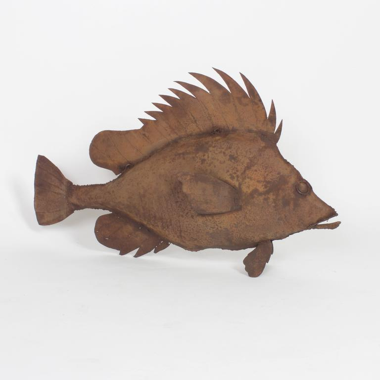 Metal Fish Sculpture In Good Condition For Sale In Palm Beach, FL