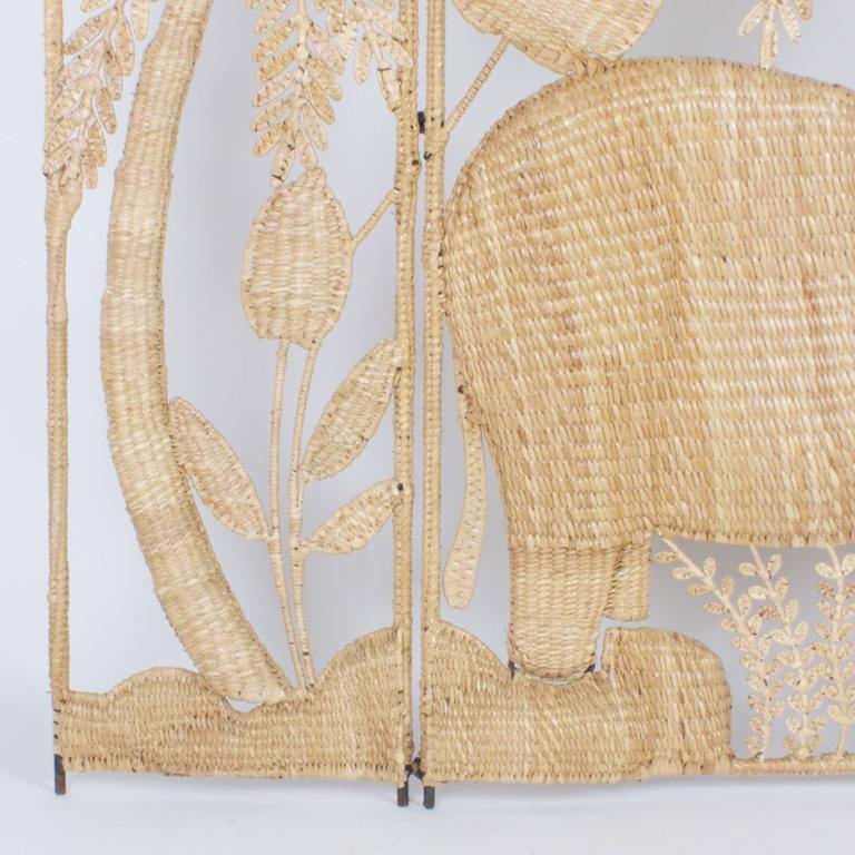 Folky Mario Torres Three-Panel Folding Screen In Good Condition In Palm Beach, FL