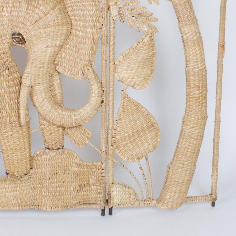 Hand-Woven Folky Mario Torres Three-Panel Folding Screen