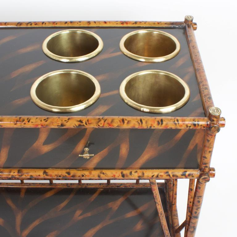 American An Unconventional Mid Century Faux Bamboo Server For Sale