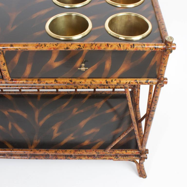 An Unconventional Mid Century Faux Bamboo Server In Excellent Condition For Sale In Palm Beach, FL
