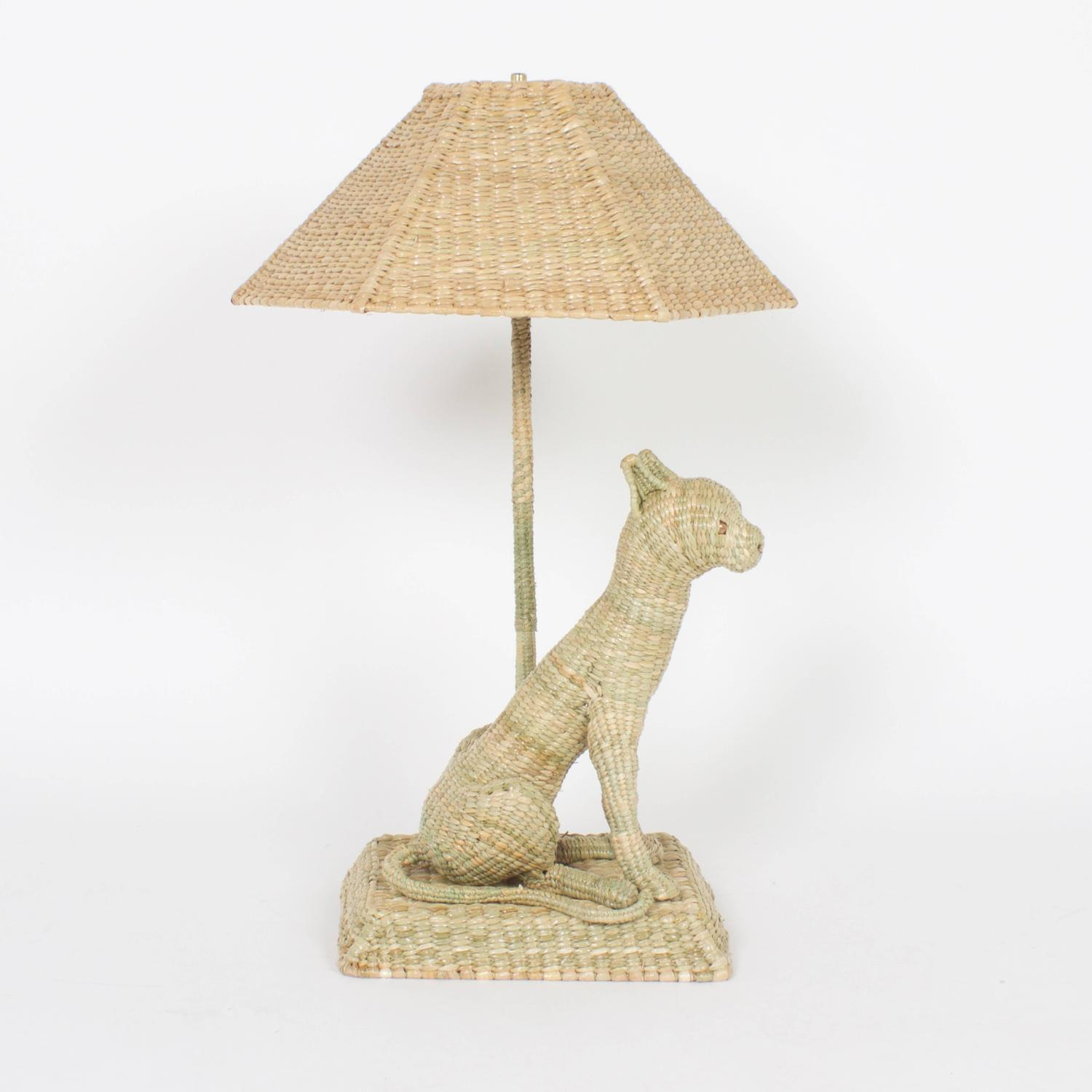 Fun and folky wicker cat table lamps by mario torres for for Funny lamps for sale