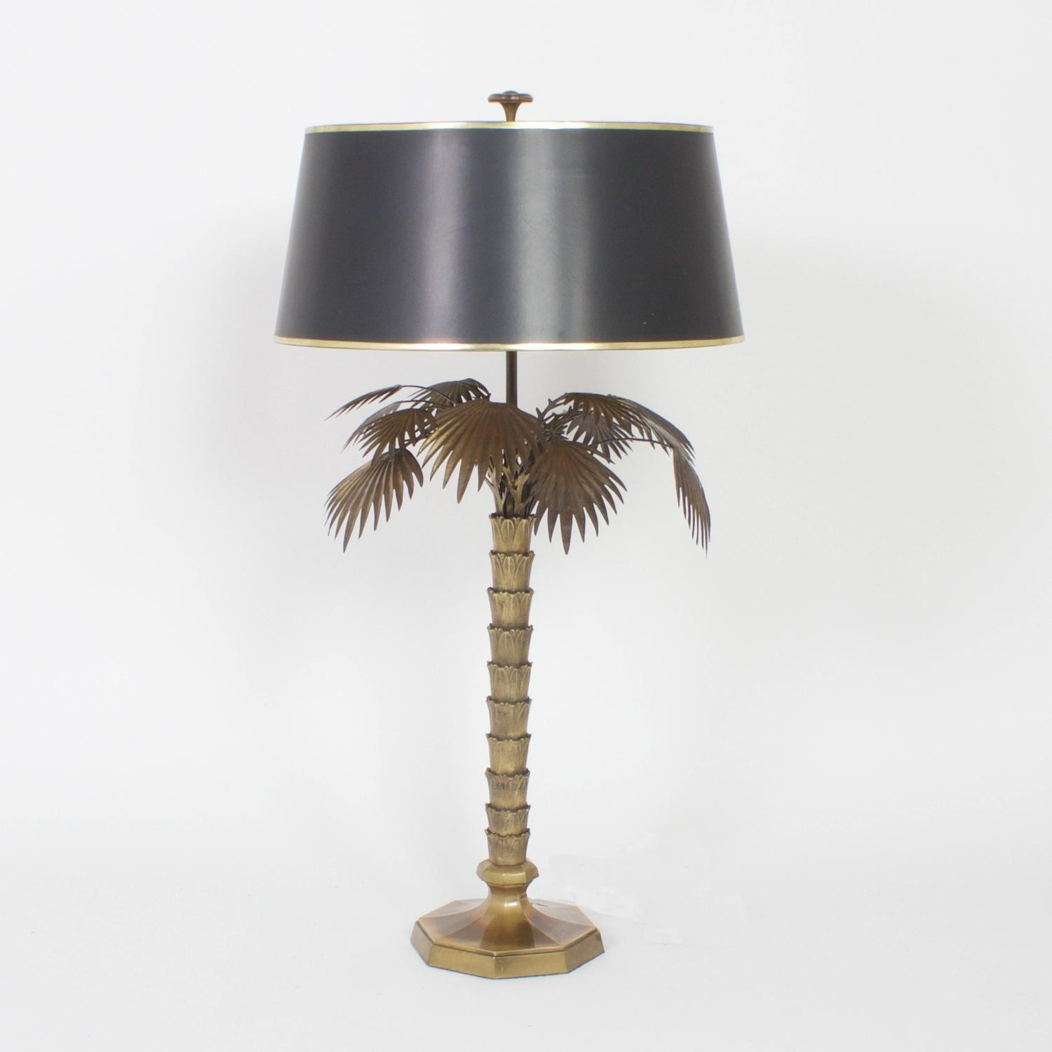 mid century pair of bronze palm tree table lamps for sale at 1stdibs. Black Bedroom Furniture Sets. Home Design Ideas