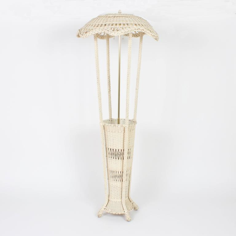 Classic Antique Wicker Floor Lamp With A Unique Feature At