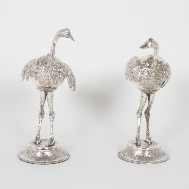 Mexican Pair of Mid-Century Silvered Ostrich Sculptures Constructed with Ostrich Eggs For Sale