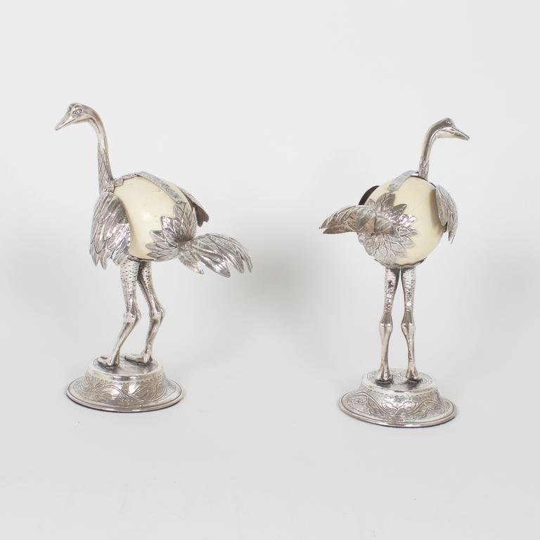 Pair of Mid-Century Silvered Ostrich Sculptures Constructed with Ostrich Eggs In Excellent Condition For Sale In Palm Beach, FL