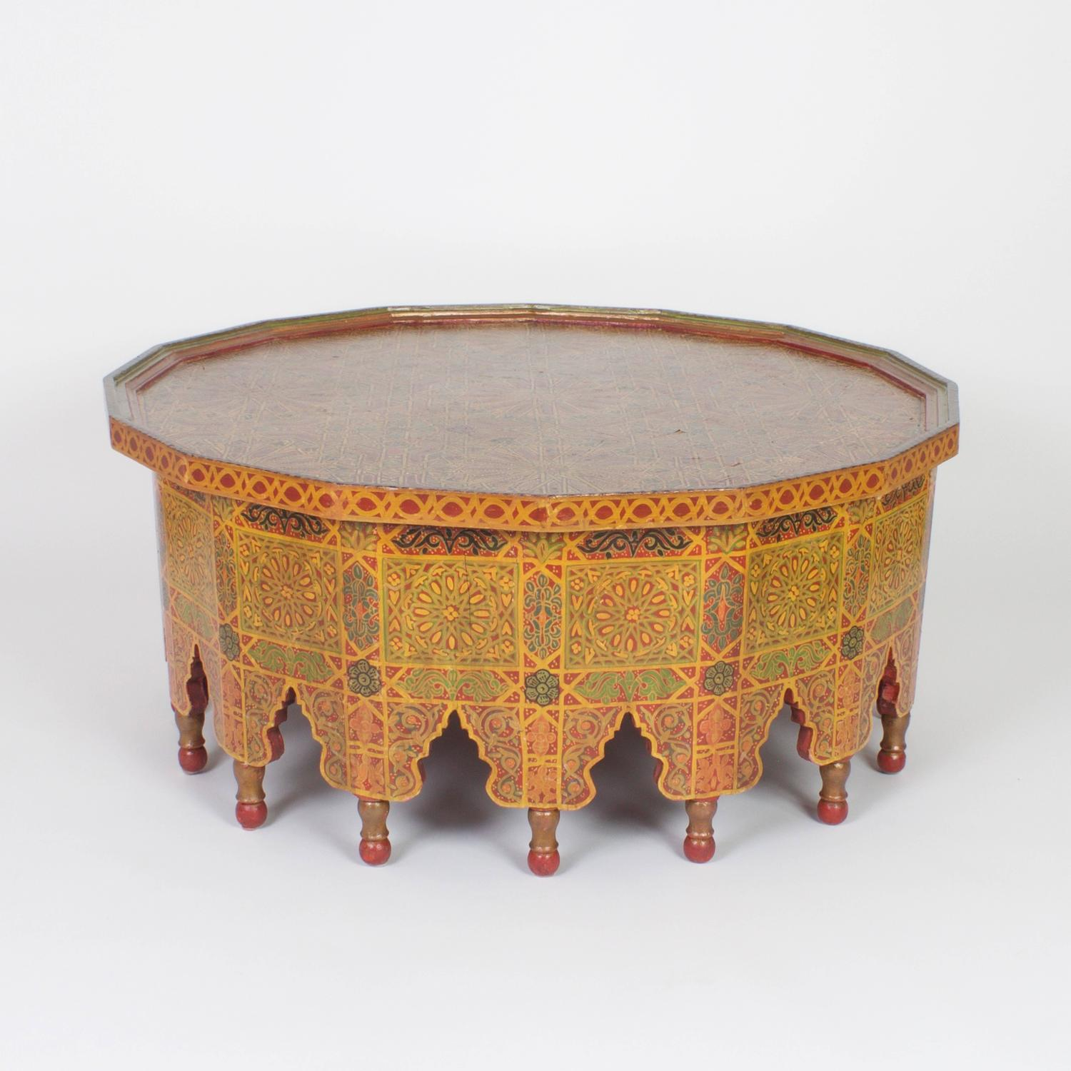 Vintage Large Hand Decorated Moroccan Cocktail Or Coffee Table For Sale At 1stdibs