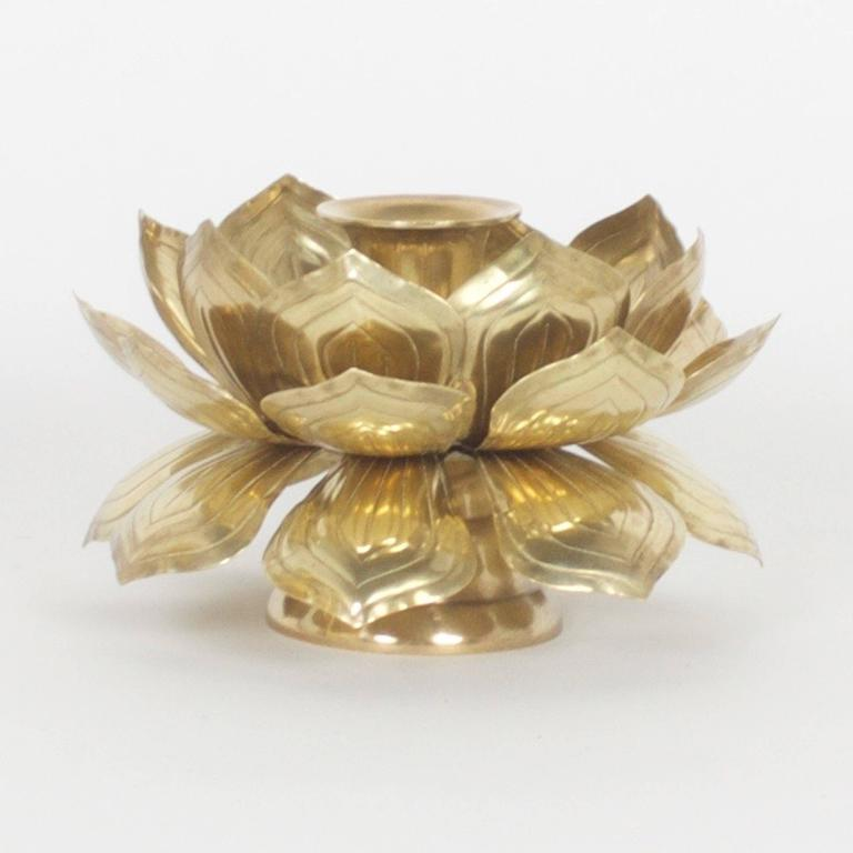 Hong Kong Two Brass Lotus Candleholders For Sale