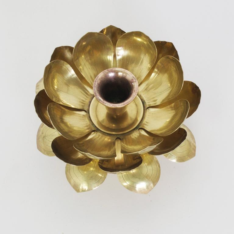 Mid-Century brass lotus single flower on a turned stand. Create an exotic mood at your next intimate dinner party. Probably by Feldman.