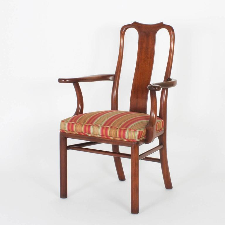 Vintage Set Of 18 Modern Asian Queen Anne Dining Chairs