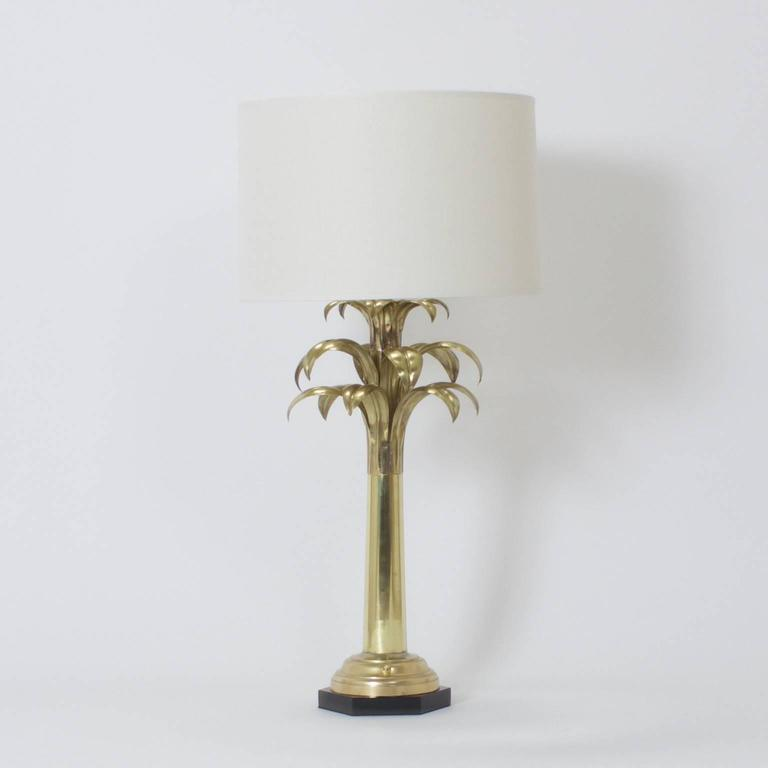 pair of brass palm tree table lamps for sale at 1stdibs. Black Bedroom Furniture Sets. Home Design Ideas