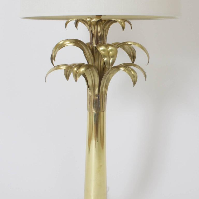 British Colonial Pair of Brass Palm Tree Table Lamps For Sale