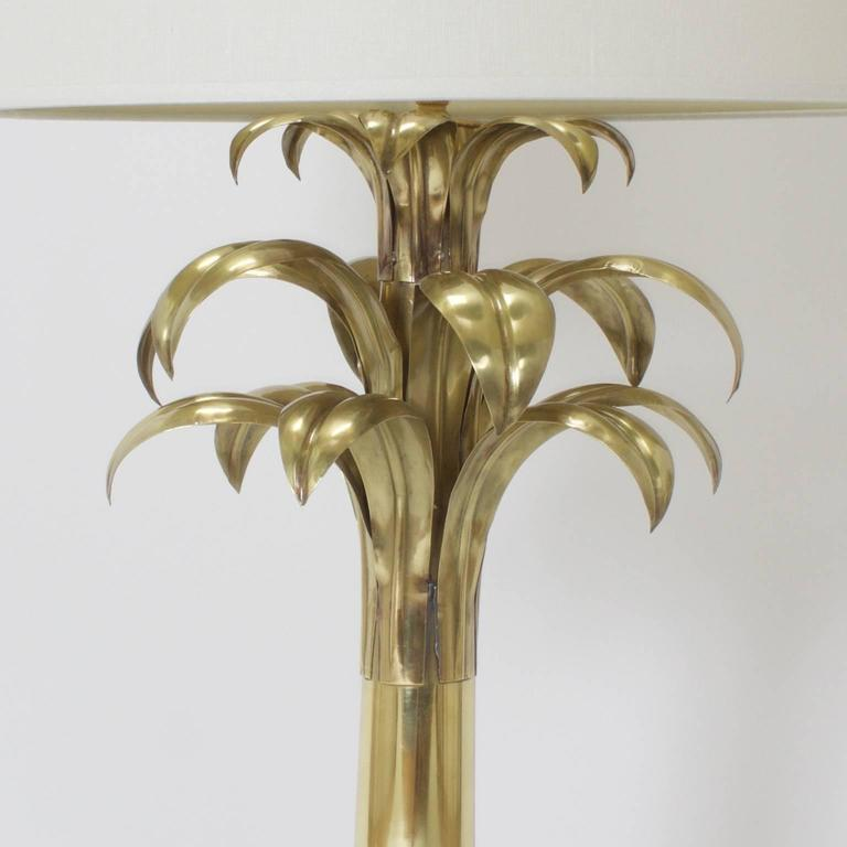 American Pair of Brass Palm Tree Table Lamps For Sale