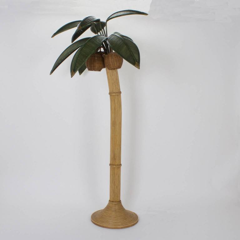Stylized reed palm tree floor lamp for sale at 1stdibs for Art deco palm tree floor lamp