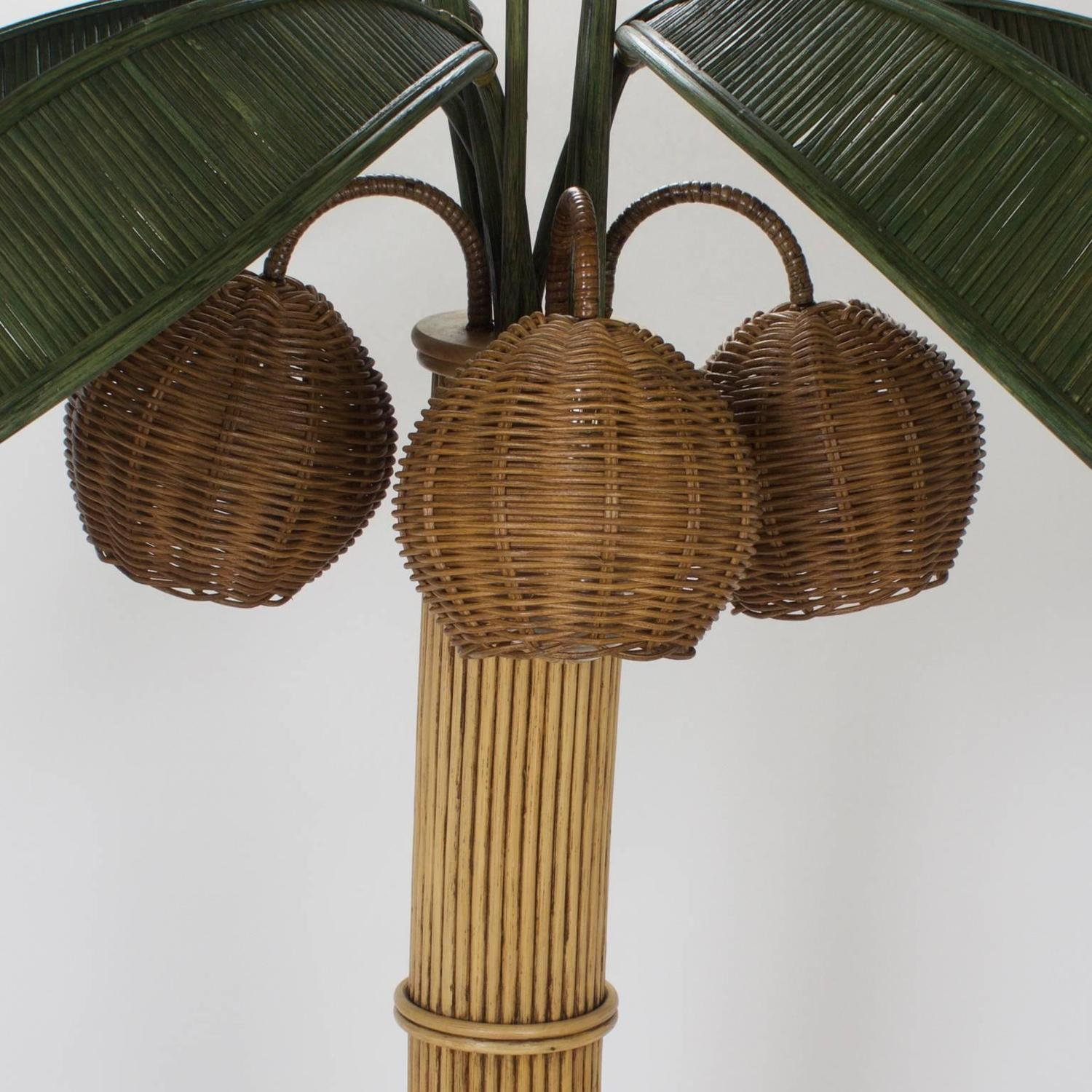 Stylized Reed Palm Tree Floor Lamp For Sale at 1stdibs