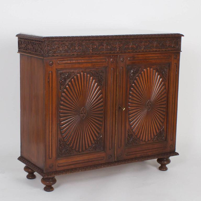Anglo-Indian Pair of Antique Anglo Indian Marble-Top Sideboards or Cabinets For Sale