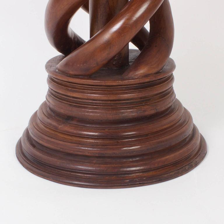 Antique 19th Century Large Spiral Carved Mahogany Pedestal For Sale 2