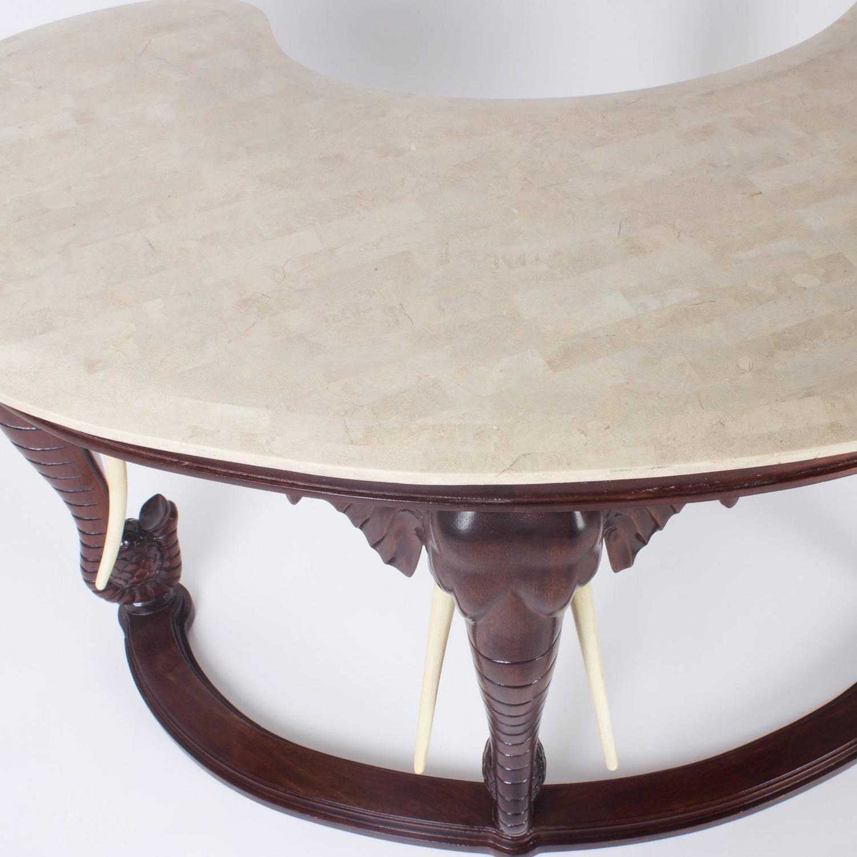 Mid Century Mahogany Maitland Smith Desk With Elephant