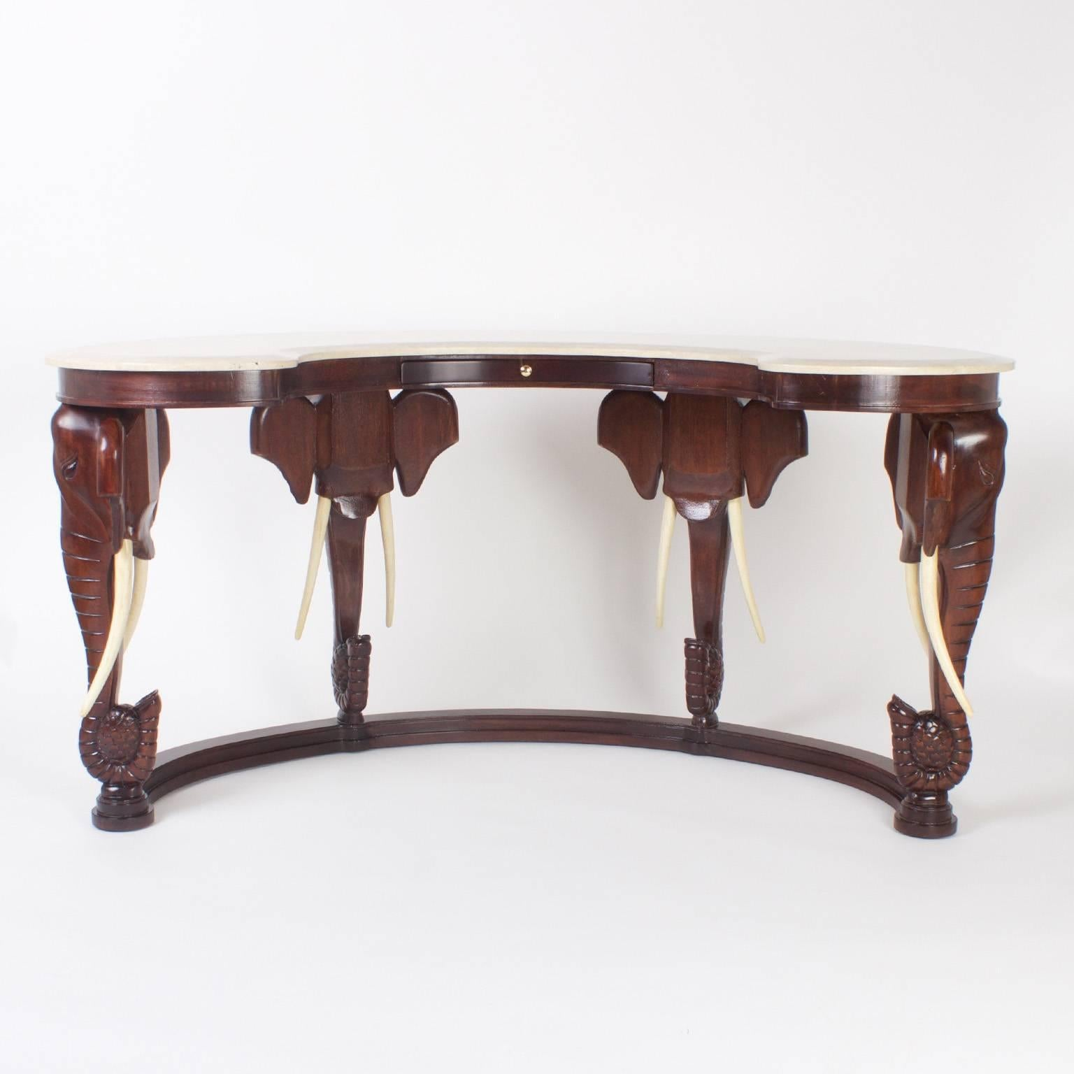 Charmant Mid Century Mahogany Maitland Smith Desk With Elephant Motif