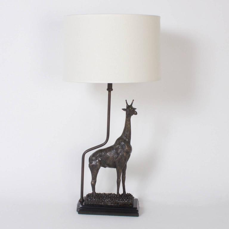 Mid Century Modern Pair Of Bronze Giraffe Table Lamps For Sale