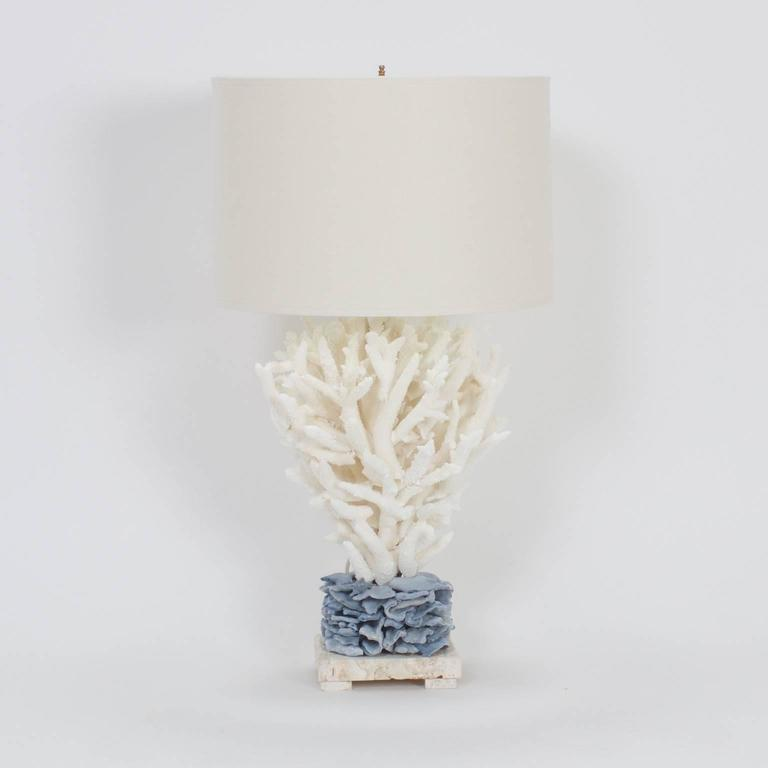 Inspired Pair Of Blue And White Staghorn Coral Table Lamps 2
