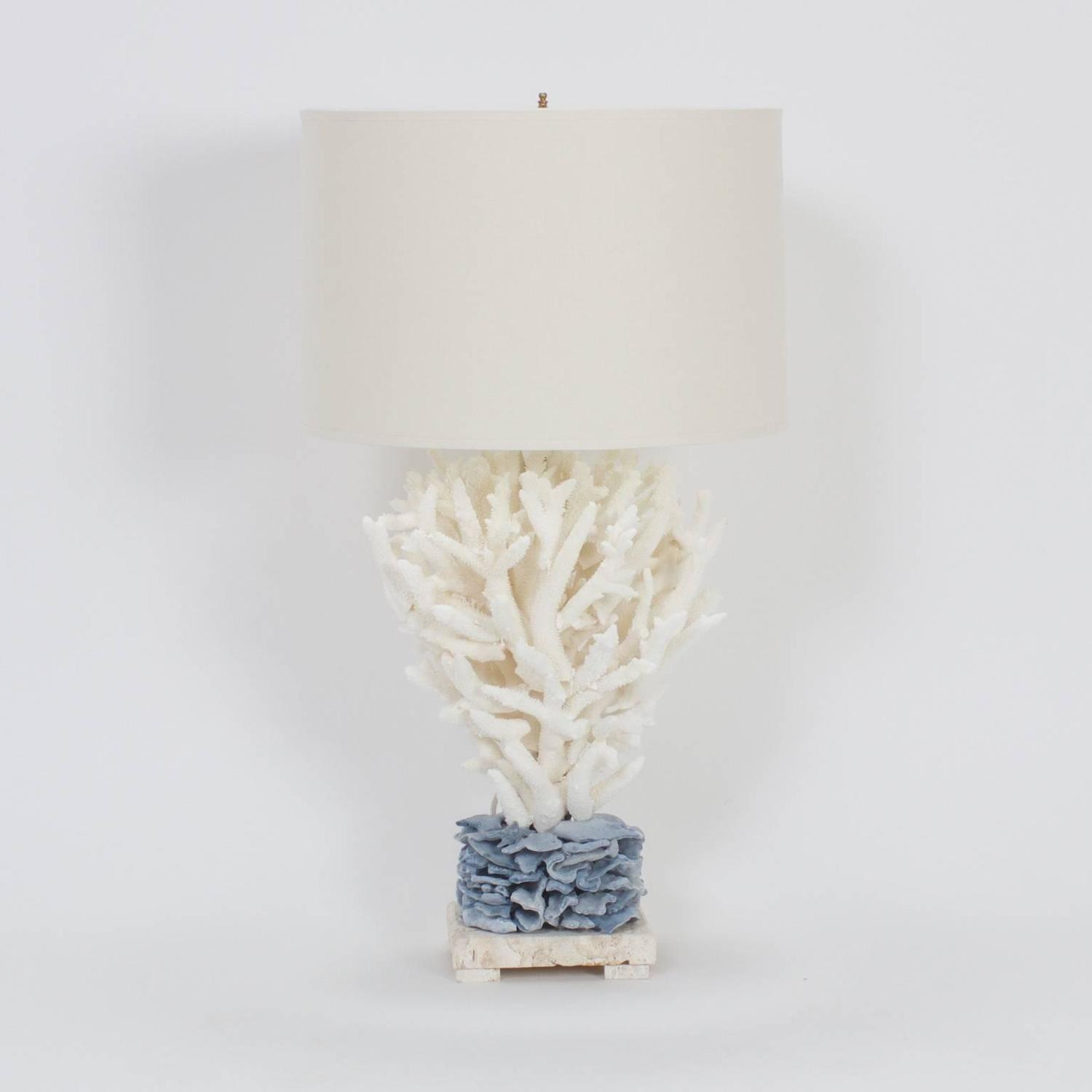 Inspired Pair Of Blue And White Staghorn Coral Table Lamps At 1stdibs
