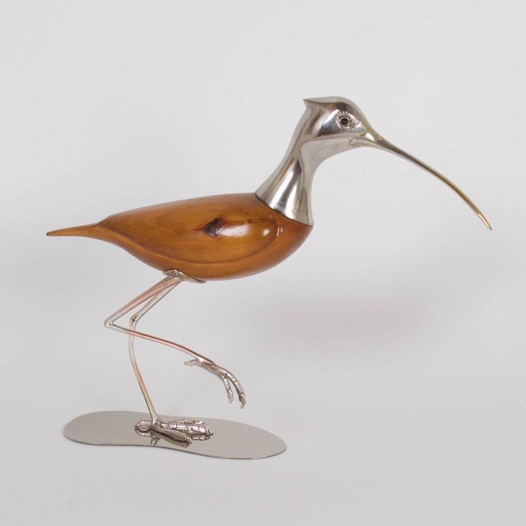 Beau Here Are Two Modern Bird Sculptures Expertly Crafted With Silvered Metal  And Knotty Pine. Both