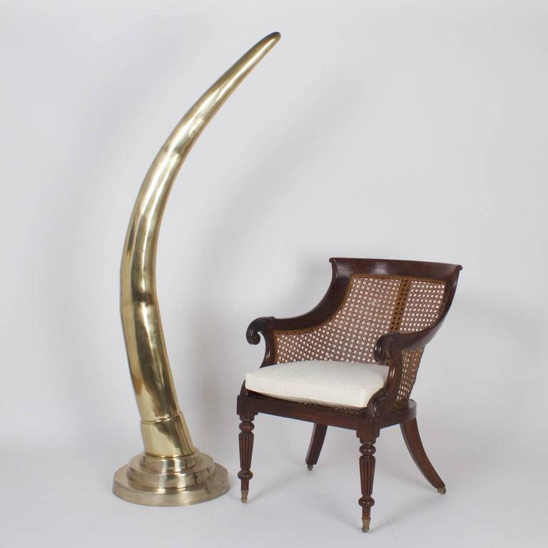 Italian Large Midcentury Pair of Brass Elephant Tusks For Sale