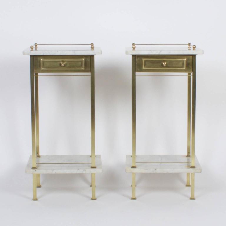 pair of brass and marble nightstands 2
