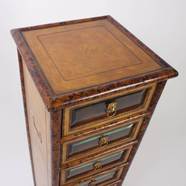 Mid Century Faux Bamboo and Tortoiseshell Seven Drawer Chest In Excellent Condition For Sale In Palm Beach, FL