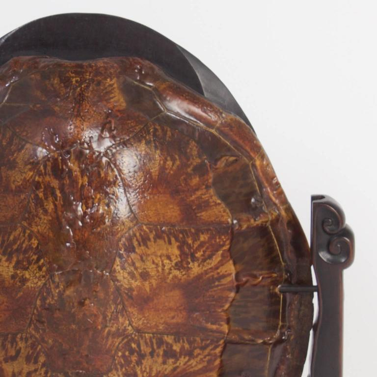 19th Century Antique Chinese Turtle Shell Vanity Mirror For Sale 1