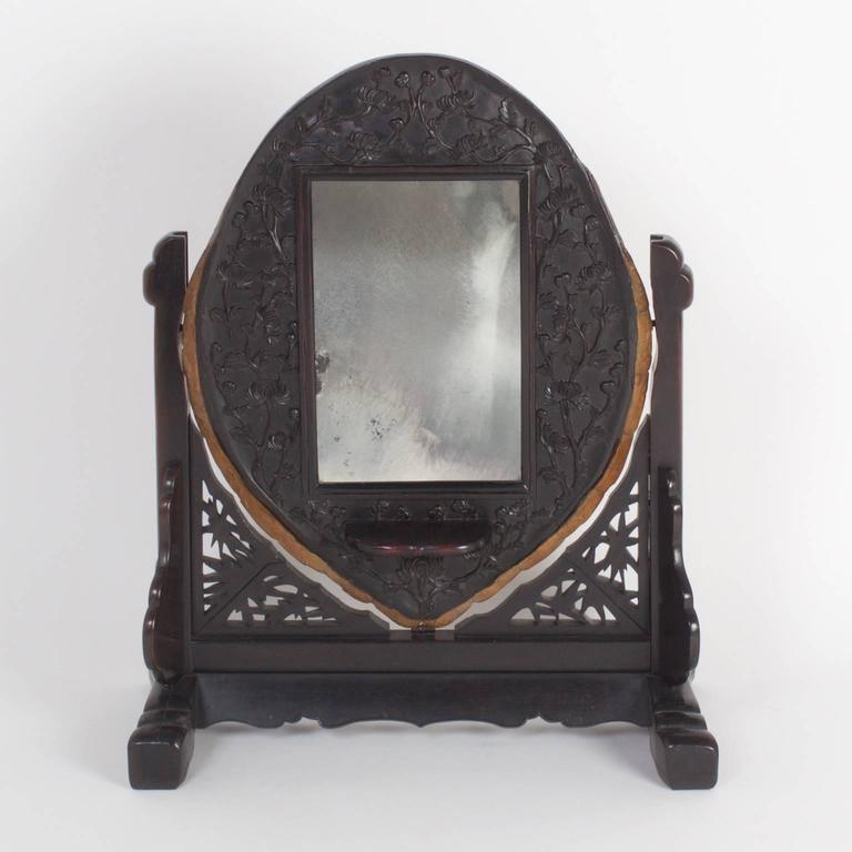 Qing 19th Century Antique Chinese Turtle Shell Vanity Mirror For Sale