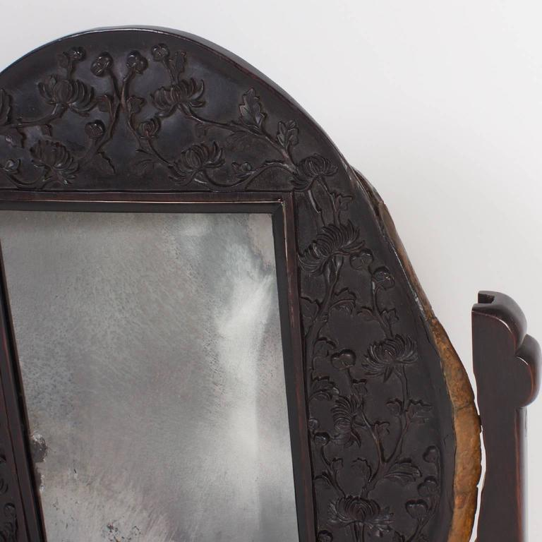 19th Century Antique Chinese Turtle Shell Vanity Mirror For Sale 3
