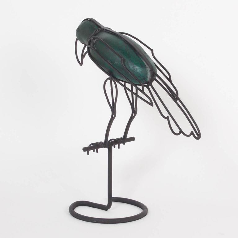 American Mid-Century Modern Metal Parrot Form Sculpture For Sale