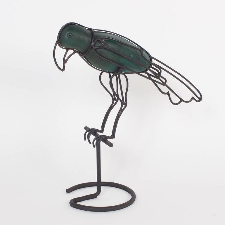 Mid-Century Modern Metal Parrot Form Sculpture In Good Condition For Sale In Palm Beach, FL