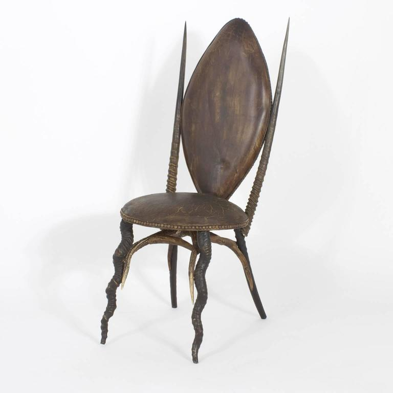 Early 20th Century Set of Six Horn Dining Chairs, Exceptional In Excellent Condition For Sale In Palm Beach, FL
