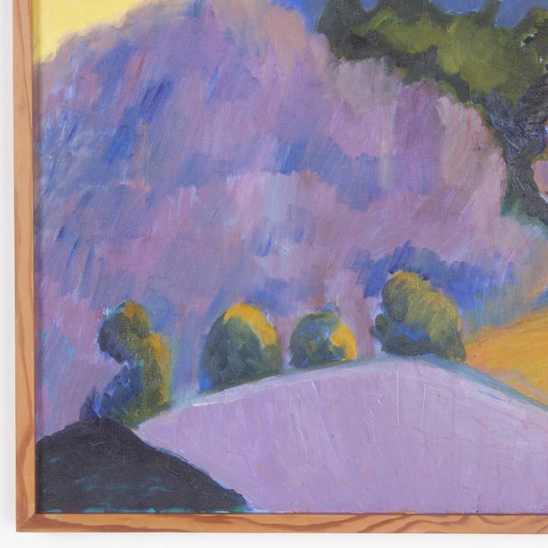 Mid-Century Landscape Painting on Canvas by Sally Turner In Excellent Condition For Sale In Palm Beach, FL