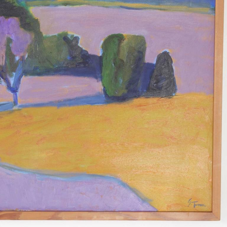 20th Century Mid-Century Landscape Painting on Canvas by Sally Turner For Sale