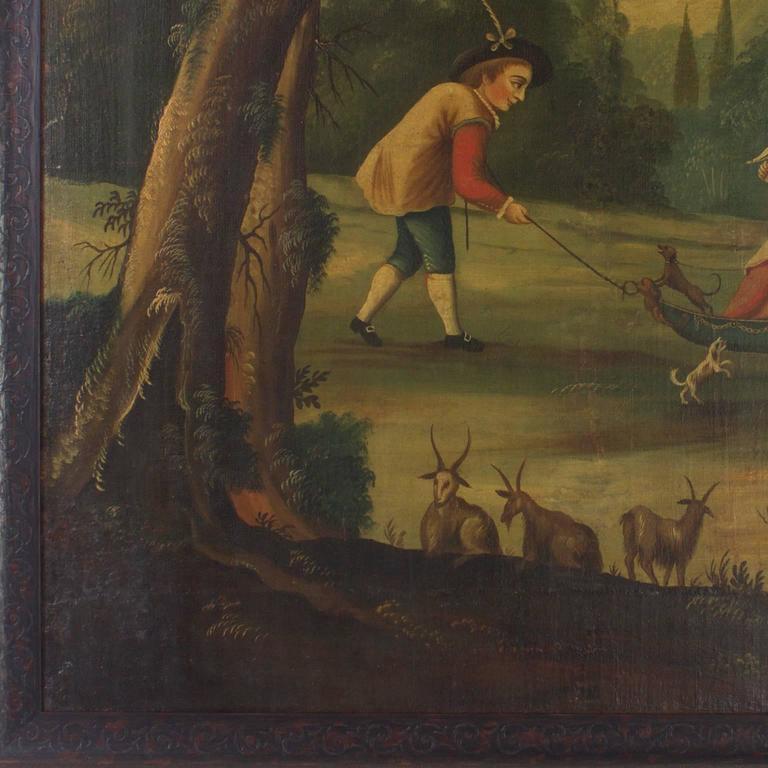 Italian 18th Century Oil on Canvas Woodland Scene Painting For Sale