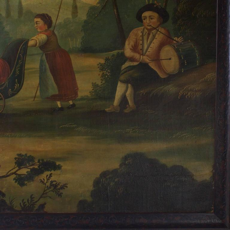 18th Century Oil on Canvas Woodland Scene Painting For Sale 1