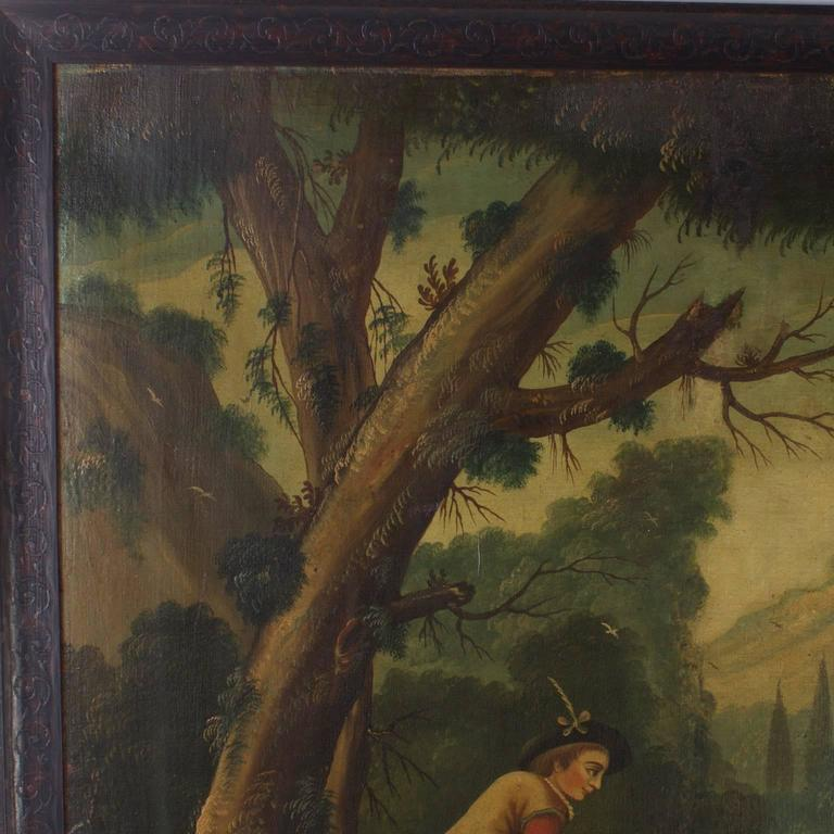 18th Century and Earlier 18th Century Oil on Canvas Woodland Scene Painting For Sale