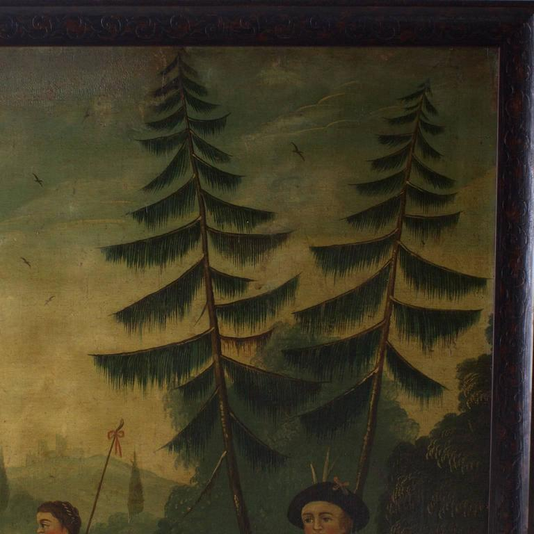 18th Century Oil on Canvas Woodland Scene Painting For Sale 2