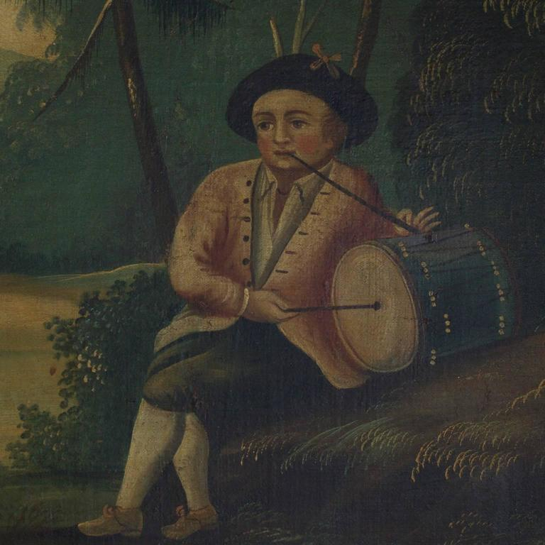 18th Century Oil on Canvas Woodland Scene Painting In Excellent Condition For Sale In Palm Beach, FL