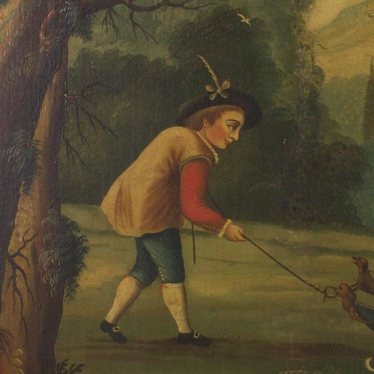 Charming, allegorical 18th century oil on canvas painting, depicting a woman of status and means who probably lives in the castle on the hill. This enchanted woodland scene has the four central characters and an amusing cast of goats, birds, and